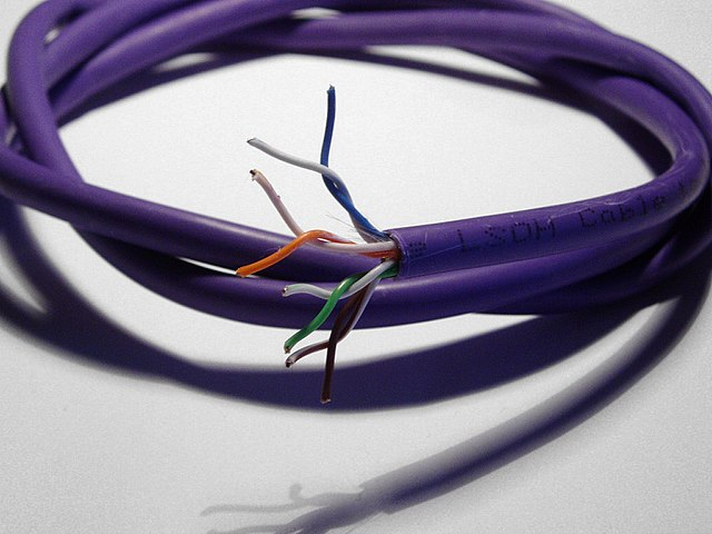 Partially stripped Cat 5 ethernet data cable showing the 4 twisted pairs (8 wires)